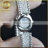 Quality supplier synthetic stone ladies bangel rhinestone bracelet watch