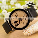 Wholesale Cheap Alibaba Express Hot Sale Watch Simple Fashion Crystal Lovers Black Leather Western Wrist Watches in Stock!