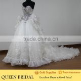 Real Sample Sweetheart Crystal Beaded Puff Ball Gown Arabic Wedding Dress