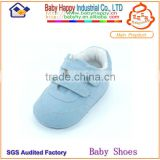 Hard sole Light blue cheap leather baby shoes