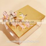 beautiful acrylic jewelry box,plexiglass acrylic rectangle box,acrylic storage box with gold engraving lid for gemstone