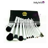 hottest 14PCS silver makeup brush shaving brush powder brush Goat hair                                                                                                         Supplier's Choice