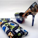 2016 Top Fashion ankara fabric African Wax Shoes And Bags ladies shoes and matching bags african shoes and bag set
