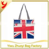 Promotional printed logo jute shopping bag with UK Flag Wholesale