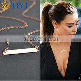 >>>YIWU T&J women fashion 14k Yellow Gold Filled Bar Chain Necklace, 17 inch Pendant Necklace for Beautiful Girl necklace 2016/