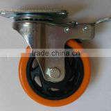 Double ball bearing PU/PVC caster,Industrial heavy duty swivel caster,Double ball bearing universal casters with brake