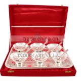 IndianArtVilla Silver Plated Set of 6 Bowl Deep Dish 6 Spoons 1 Serving Tray, Gift Packing Box - Desert ice cream Serving