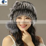 Fashion Design Handmade Knitted Real Rex Rabbit Fur Winter Hat with Pom Pom on Broadside