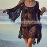 Womens Bikini Cover-up Strapless Dress Perspective Sunscreen Lace Blouse