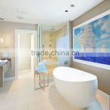 JY-JH-SH01 Bathroom decorate wall mural Sailboat pattern glass painting new artistry handcraft glass art