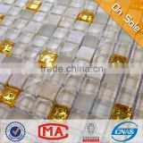 HF JTC-1305 premium beautiful design crystal clear glass tiles mix gold color glass mosaic tile natural stone for interior walls