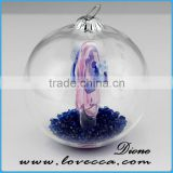 Pink and blue christmas Ornaments 2.75 Inches glass terrarium, Resin diamond and shoes glass ball
