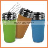 2016 New bamboo fiber cup with silicon lid & holder