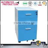 Light blue office filing cabinet metal mobile filing cabinet with 3 drawer