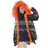 CX-G-P-03B Fashionable Women Winter Real Rex Rabbit Fur Lined 2016 New Latest Ladies Fox Fur Hooded Wholesale Parka Jacket