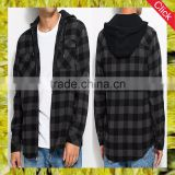 Wholesale fancy latest shirt designs for men cotton check shirts with drawstring hooded flannel shirt Guangzhou clothing