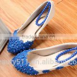 Blue handmade pearl chain wedding shoes wholesale spring and summer flat style bridesmaid shoes with dress shoes WS035