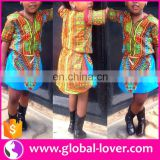 2016 new style child clothes dashiki Printed kid dresses African short sleeve girl dress