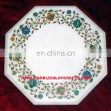 Marble Inlay Table Top, White Marble Inlay Coffee Table Top