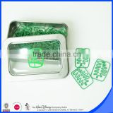 30mm Green tree shape paper clip tin box package                                                                                                         Supplier's Choice