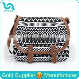 Fancy Women Canvas Shoulder Bag Best Selling Canvas Pattern Shoulder Bag With Leather Trim