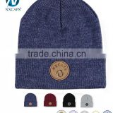 Good quality plain knitted caps custom winter beanie hats with leather patch