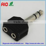 black plastic jacket 6.35mm 1/4 stereo plug to 2 double 3.5mm 1/8 stereo jack phone adaptor connector
