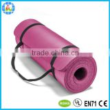soft comfortable 15mm nbr non slip yoga mat with carry strap                                                                         Quality Choice