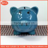wholesale piggy bank blue porcelain piggy money box/ceramic coin bank/custom coin bank savings bank money box