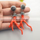 LFD-078E Wholesale Beautiful Orange Coral Branch Shape Dangle Earrings with Crystal Rhinestone Paved Druzy Jewelry Earring