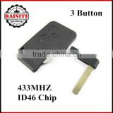 Perfect function renault megane card key Renault Megane 3 button remote key 2pcs/lot with 433Mhz PCF7947 Chip with best price