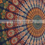 Indian Mandala Peacock Feather Tapestry Cotton Large Decorative Wall Hanging Ethnic Throw Tapestries