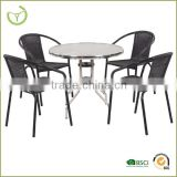 Patio rattan bar set-5pc wicker bistro set with glass top table//resturant table