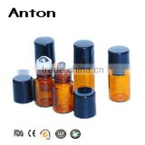 3ml 5ml 8ml 10ml Amber roll on tube glass bottles with stainless steel roller ball and black cap