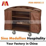 5 Star Hotel Resorts Guest Room Housekeeping Service Trolley with Wooden Box