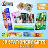 Lenticular 3D design PET office stationery 3D ruler/notebook/bookmark