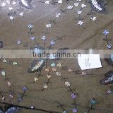 wholesale vintage butterfly Sequins Embroidery Fabric for Zara clothes 3MM colorful Sequins linen mesh embroidery