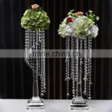 2016 cheap wholesale clear crystal glass flower stand for wedding decoration centerpieces