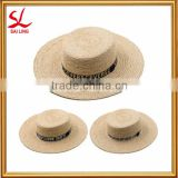 Summer Beach Custom Straw Boater Hat High Quality Funny Women's Flat Top Raffia Straw Hats