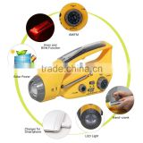 Hot Selling 3 LED Solar Powered Dynamo AM/FM Radio + Flashlight Power Cell Phones Charger led flashlight with USB Port