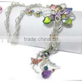 Crystal and enamel art work flower and mixed beads tassel drop long necklace earring set