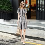 2016 Summer Fashion Women Black White Stripe Chiffon Dresses Jersey Round Collar Short Sleeve Bow Slit Back Ladies Modern Dress