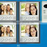 "7"" wired color multi apartments video door phone for building, 4 families intercom"