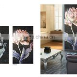 pink and gray color flowers black background hand cut art glass tile mosaic mural patterns made in china JINYUAN MOSAIC FACTORY