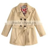 Guangzhou Garments Manufacturer Double breasted Notch Lapel Kids Trench coats Beige Girls Jackets