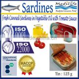 Fresh Canned Sardines in Vegetable Oil with Tomato Sauce , High Quality Sardines,Sardines in cans with Tomato Sauce 125g