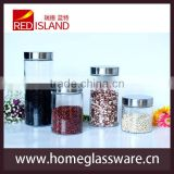Classic 4pcs/set Glass Jar for kitchenware with stainless steel lid