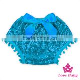 Adorable Baby Bloomers Plain Turquoise Girls Cotton & Sequins Bloomers Stylish Baby Bloomers Wholesale