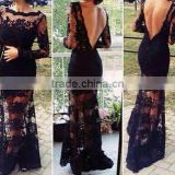 hot sale sexy black bodycon long dress black lace dress backless dress long sleeve women dress maxi party dress women dress
