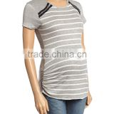 Fashionable Maternity Tops With Due Time Heather Gray And Ivory Zip-Accent Maternity Tees Women Clothes WT80817-29